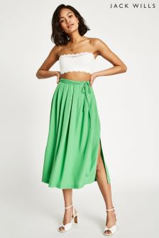 Jack Wills Green Tibshelf Textured Midi Skirt