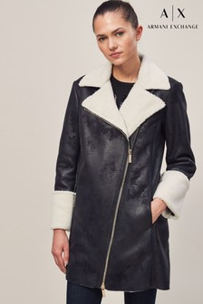 Armani Exchange Faux Sheepskin Caban Jacket