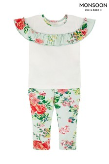 Monsoon Pale Green Baby Darcy Top And Leggings Set