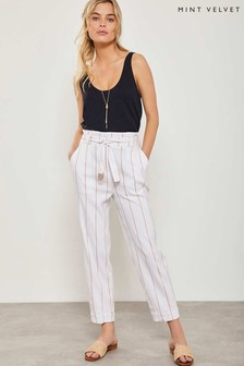 Mint Velvet White Stripe Tie Waist Trouser