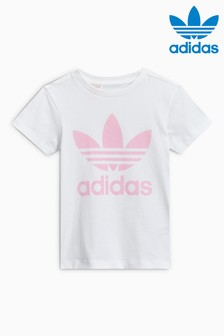 adidas Originals White/Pink Large Trefoil Tee