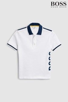 BOSS White Side Logo Polo