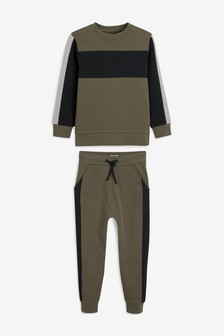 Colourblock Crew And Joggers Set (3-16yrs)