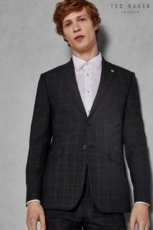 Ted Baker Charcoal Zemla Sovereign Windowpane Suit Jacket