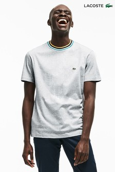 Lacoste® Silver Chine Stripe Collar Tee