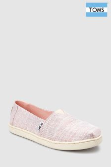 Toms Pink Sparkle Alpargata Slip-On Shoe