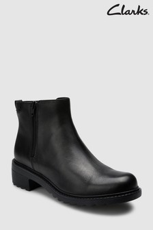 Clarks Black Leather Frankie Roam Zip Youth Ankle Boot