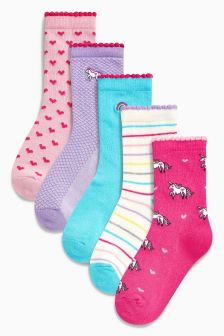 Unicorn Socks Five Pack (Younger)