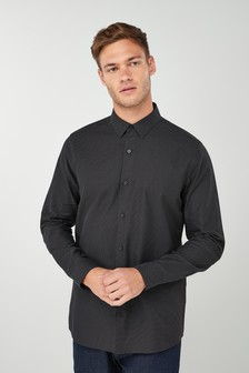 Long Sleeve Slim Fit Jacquard Shirt