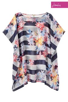 Joules Navy Floral Stripe Rosanna Cover Up