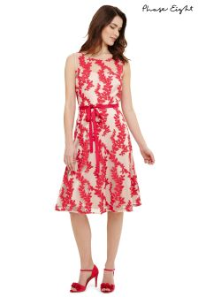 Phase Eight Nude/Fuchsia Adele Embroidered Fit Flare Dress