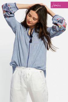 Joules Blue Stripe Yolanda Woven Top