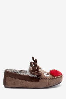 Reindeer Moccasin Slippers (Older)