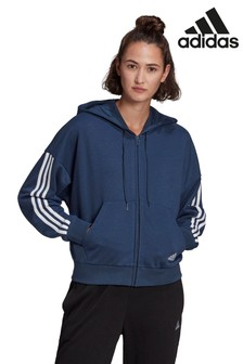 adidas 3 Stripe Sport Fashion Zip Through Hoodie