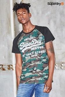 Superdry Camo Print Raglan T-Shirt