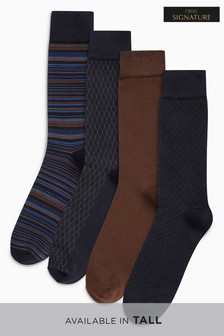 Bamboo Navy/Tan Mixed Pattern Socks Four Pack