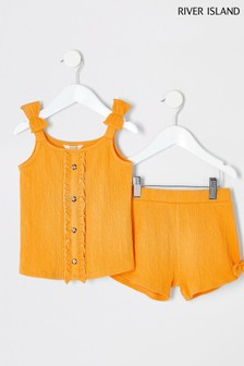 River Island Yellow Crinkle Short Set