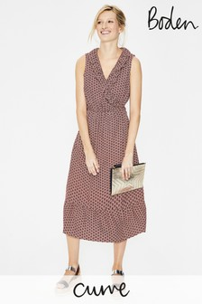 Boden Pink Nancy Linen Midi Dress