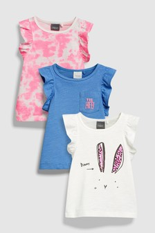 Short Sleeve Frill T-Shirts Three Pack (3mths-6yrs)