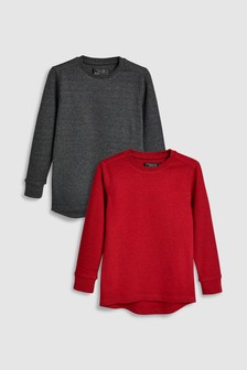 Textured Long Sleeve Tops Two Pack (3-16yrs)