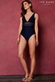 Ted Baker Anamae Navy Embroidered Swimsuit