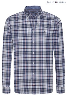 Tommy Jeans Blue Cotton Linen Multi Check Shirt