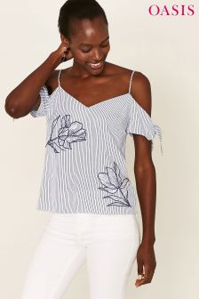 Oasis Natural Stripe Appliqué Cold Shoulder Cami
