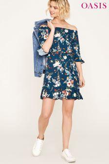 Oasis Blue Fitz William 3/4 Sleeve Dupont Bardot Dress