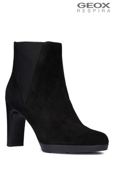 Geox Annya High Black Heeled Suede Ankle Boots