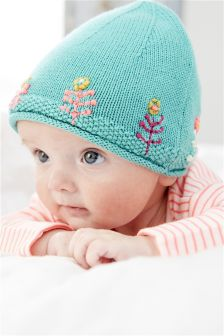Embroidered Knitted Hat (0mths-2yrs)