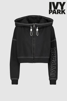 Ivy Park Black Stab Stitch Zip Through Hoody