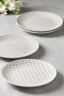 Set of 4 Geo Embossed Side Plates