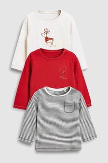 Reindeer/Robin Tops Three Pack (3mths-6yrs)