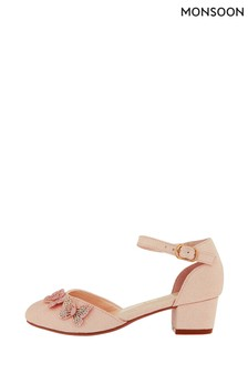 Monsoon Pale Pink Effie Sparkle Butterfly Two Part Shoe