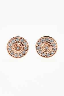 Jewelled Disc Stud Earrings