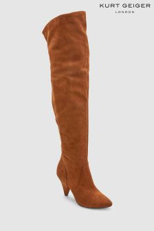Kurt Geiger London Tan Suede Dakota Over The Knee Boot