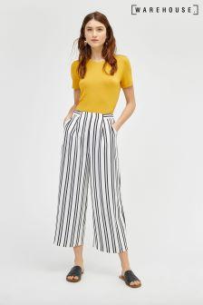 Warehouse White Stripe Soft Pleat Culotte