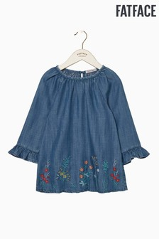 FatFace Blue Embroidered Flute Sleeve Blouse