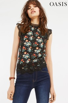 Oasis Black Willow Ditsy Lace Trim Top
