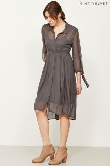 Mint Velvet Black Ash Long Sleeve Cocoon Shirt Dress