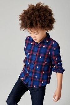 Рубашка в клетку с длинным рукавом и новогодней вышивкой (3-16 лет)