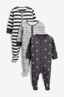 3 Pack Stripe And Star Print Sleepsuits (0mths-2yrs)