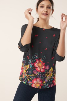 Printed Knot Sleeve Top