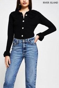 River Island Black Knitted Frill Collar Cardigan