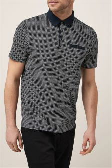Geo Print Badge Polo