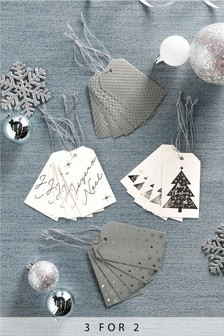 20 Pack Silver Christmas Gift Tags