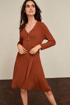 Button Front Jumper Dress