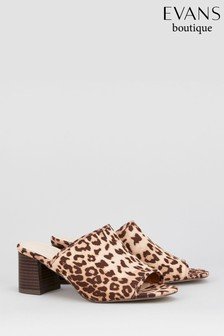 Evans Yellow Extra Wide Peep Toe Flare Mule