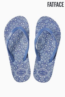 FatFace Blue Hope Chambray Print Flip Flop