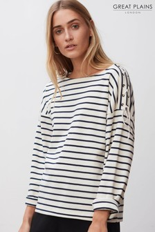 Great Plains Cream Lace-Up Stripe Top